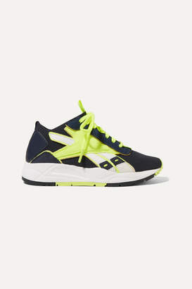 Reebok x Victoria Beckham Bolton Stretch-knit, Leather And Suede Sneakers - Midnight blue