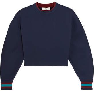 Tibi Cropped Stretch-jersey Sweatshirt - Navy
