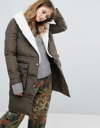 Urban Code Urbancode Quilted Longline Coat With Borg Trim