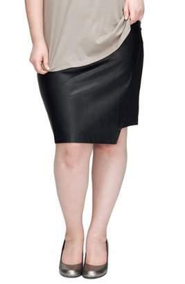 Universal Standard Mosman Faux Leather Front Skirt