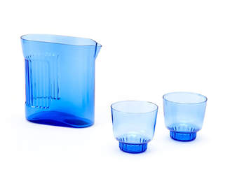 Areaware Ridge Kitchen Blue Pitcher and Glass Set