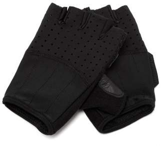 Café Du Cycliste - Leather And Mesh Fingerless Gloves - Mens - Black