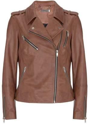 Mint Velvet Tan Leather Biker Jacket