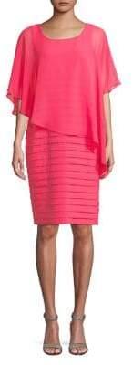 Adrianna Papell Asymmetrical Chiffon Overlay Dress