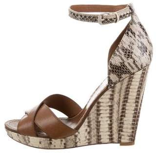Tory Burch Snakeskin Wedge Sandals