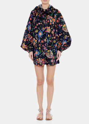 Tibi Tech Floral Pull On Paperbag Shorts