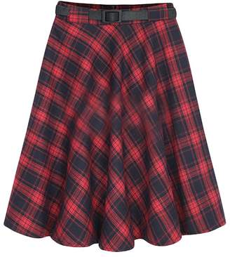 Buckdirect Worldwide Ltd. Plus Size Vintage Women High Waist Knee Length Plaid A-Line Skirt With Belt