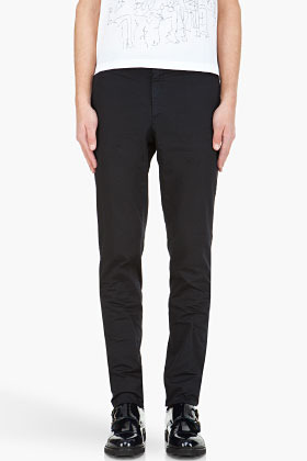 Lanvin Navy slim overdyed trousers