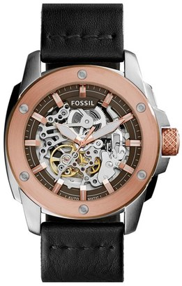 Women's Fossil 'Modern Machine' Skeleton Dial Leather Strap Watch, 50Mm $245 thestylecure.com