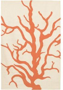 Thomas Paul Coral Woven Rug in Orange