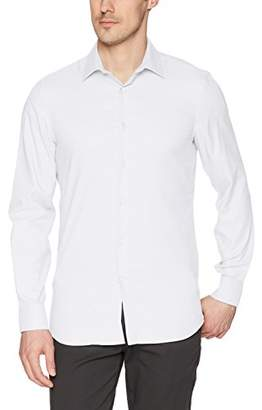 Perry Ellis Men's Slim Fit Solid Dobby Stain-Repellent Shirt