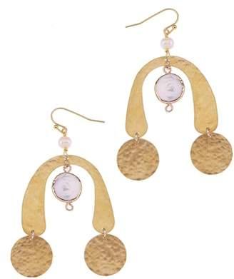 Nakamol Design Brass Coin & Freshwater Pearl Statement Earrings