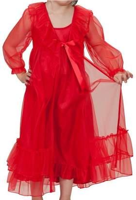 Laura Dare Girls Princess Peignoir Set Includes Nightgown and Sheer Ruffle Robe USA