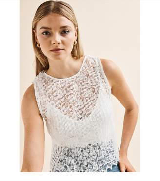 Dynamite Lace Tank With Cami PEARL