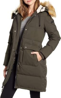 Sam Edelman Down & Feather Puffer Coat with Faux Fur Trim