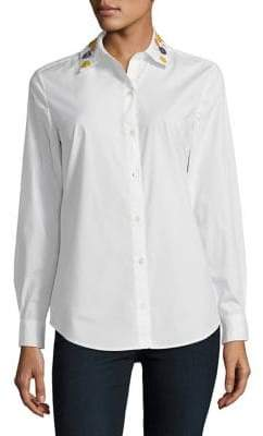 Lord & Taylor Petite Sequined Button-Down Shirt