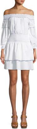 Parker Kara Off-the-Shoulder Long-Sleeve Cotton Dress