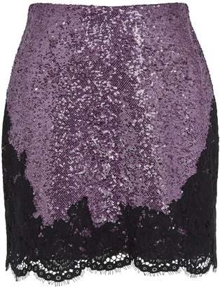 Philosophy di Lorenzo Serafini Lilac Lace-trimmed Sequin Mini Skirt