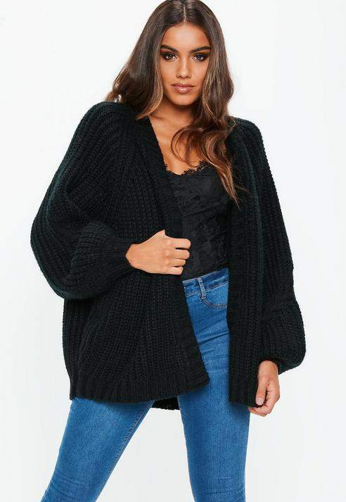 Black Oversized Batwing Cable Knitted Cardigan, Black