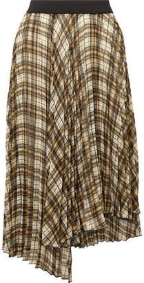 Maje Asymmetric Pleated Checked Chiffon Midi Skirt - Beige
