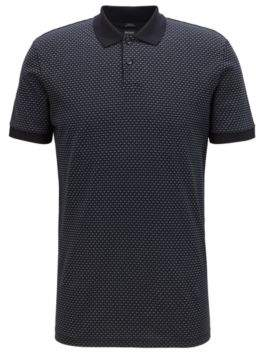 BOSS Hugo Slim-fit polo shirt in micro-patterned mercerized cotton M Open Blue