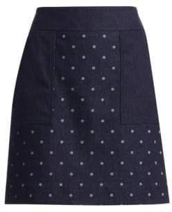 Akris Punto Dot-Print Denim Skirt