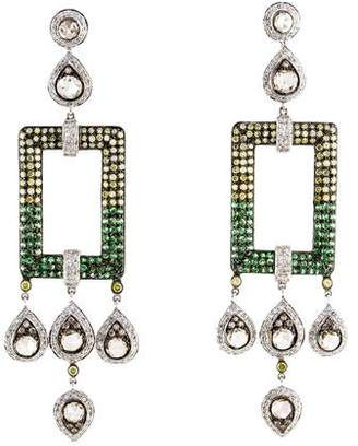 18K Diamond & Tsavorite Garnet Drop Earrings