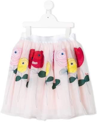 Simonetta rose embroidered tulle skirt