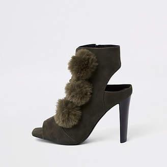 River Island Khaki faux fur pom pom open toe shoe boot
