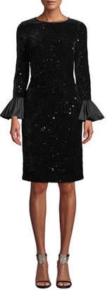 Rickie Freeman For Teri Jon Velvet Confetti Sequin Bell-Sleeve Dress