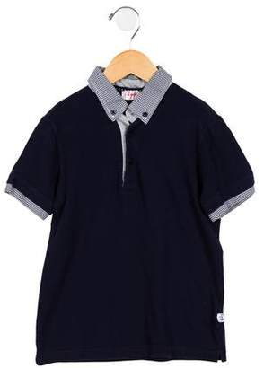 Il Gufo Boys' Gingham-Trimmed Polo Shirt