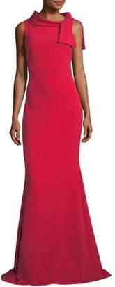 Badgley Mischka Self-Tie Sleeveless Column Gown