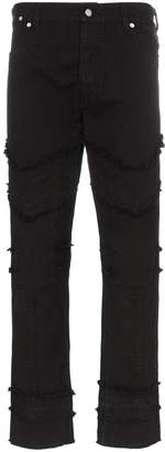 Vyner Articles Fringed Trims Slim-Fit Jeans