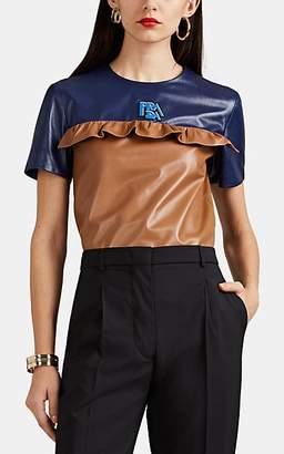 Prada Women's Ruffle Colorblocked Leather Top - Camel