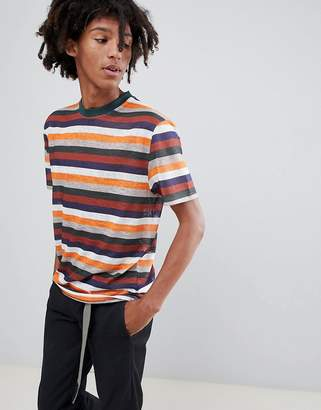 Asos DESIGN relaxed t-shirt with retro stripe in linen look fabric