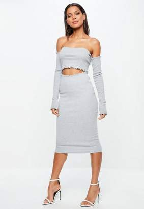 Missguided Tall Grey Lettuce Hem Ribbed Midi Skirt