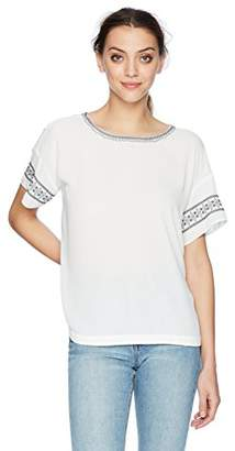 NYDJ Women's Embroidered Woven TEE