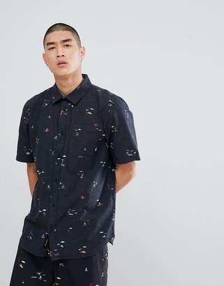 Vans Tres Palmas Short Sleeve Shirt In Black VA3711PFP