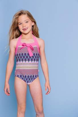 Floatimini Multi Floral Border Halter Tie One-Piece (Toddler, Little Girls, & Big Girls)