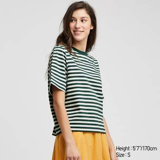 Uniqlo WOMEN Striped Cropped Crew Neck Short Sleeve T