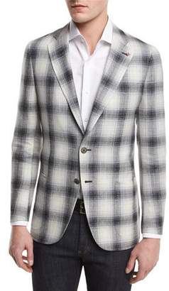 Isaia Ombre Plaid Two-Button Sport Coat, Creme/Black