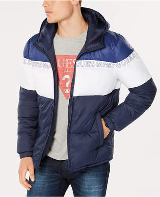 GUESS Men's Colorblocked Logo-Print Hooded Puffer Coat