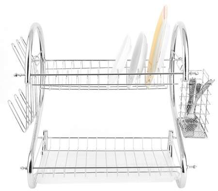 Generic Practical 2 Tiers Kitchen Shelf with Stainless Steel Plate/Dish Rack Drainer Drying Rack With Removable Drip Tray,Silver