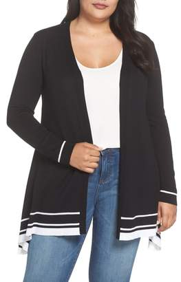 Evans Tipped Handkerchief Hem Open Cardigan