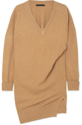 Alexander Wang Oversized Gathered Knitted Mini Dress - Camel