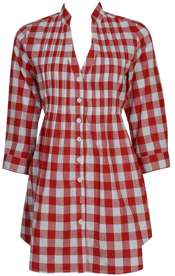 Pintucked Plaid Woven Tunic