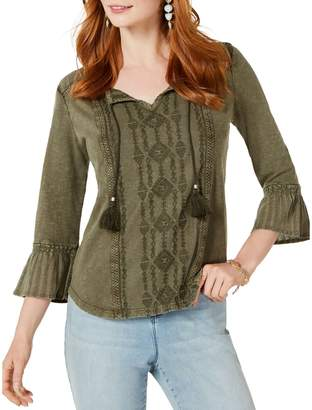 Style&Co. Style & Co. Petite Embroidered Bell-Sleeve Cotton Top