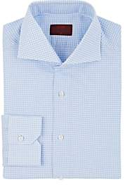 Isaia Men's Gingham Cotton-Linen Dress Shirt-Lt. Blue