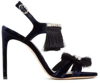 Sophia Webster Mariella Tasselled Velvet Sandals - Womens - Black Navy