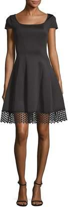 Donna Ricco Women's Cap-Sleeve Scuba Fit-&-Flare Dress